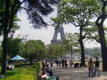 Wieża na tle Paryża- Trocadero - park